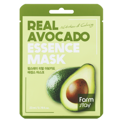 Тканевая маска для лица с экстрактом авокадо FARMSTAY REAL AVOCADO ESSENCE MASK 23 мл: фото