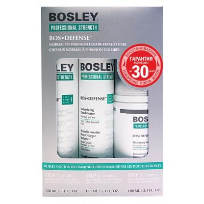 Система зеленая для нормальных/тонких неокрашенных волос Bosley Bos Defense for Normal to Fine Non Color-Treated Hair 150мл*2 + 100мл: фото