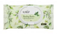 Салфетки для снятия макияжа с зеленым чаем Soleaf Healing Herb Cleansing Tissue 20шт: фото