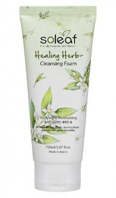 Пенка очищающая для лица с зеленым чаем Soleaf Healing Herb Cleansing Foam 150 мл: фото